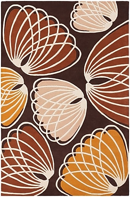 Ivy Bronx Bynum Brown/Orange Area Rug; 5' x 7'6''