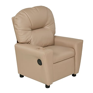 Harriet Bee Cayeman Youth Recliner Faux Leather Chair w/ Cup Holder and Dual USB; Beige