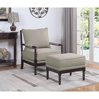 Gracie Oaks JeNae Armchair and Ottoman; Beige/Espresso