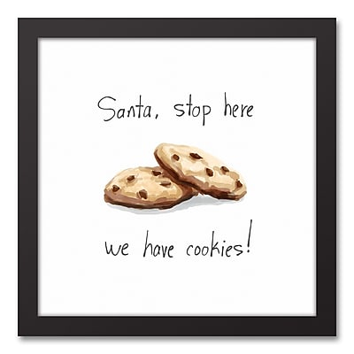 The Holiday Aisle 'Santa, We Have Cookies!' Framed Textual Art on Canvas