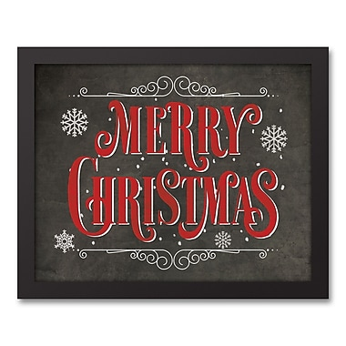 The Holiday Aisle 'Merry Christmas Chalkboard' Framed Textual Art on Canvas; 12.73'' H x 15.73'' W