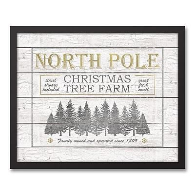 The Holiday Aisle 'North Pole Christmas Tree Farm' Framed Graphic Art Print on Canvas