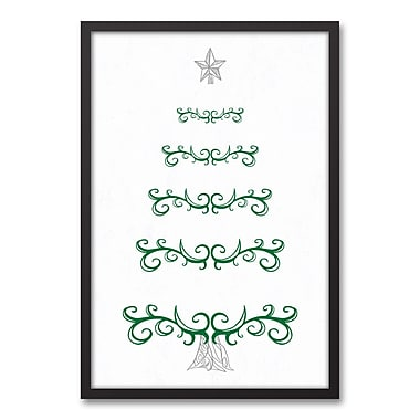 The Holiday Aisle 'Tree Doodle' Framed Graphic Art Print on Canvas; 31.73'' H x 21.73'' W