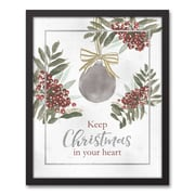 The Holiday Aisle 'Vintage Christmas Card' Framed Graphic Art Print on Canvas; 21.73'' H x 17.73'' W