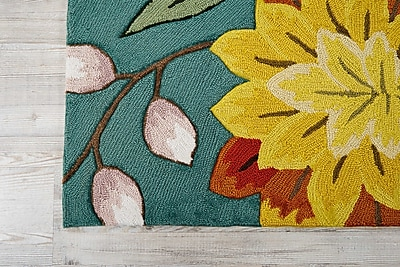 August Grove Villers Hand Hooked Aqua/Red Area Rug