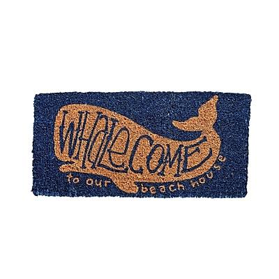 Highland Dunes Anselmo Whalecome Natural Coir Doormat