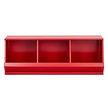 Kingstown Home Lucille Birchkelly Stackable Storage 3 Compartment Cubby; Samba Red
