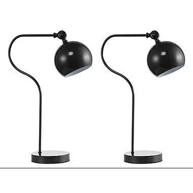 Ivy Bronx Bushong 20'' Desk Lamp (Set of 2); Black