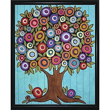 Winston Porter 'Folk Art Tree' Print; Black Metal Flat Framed Paper