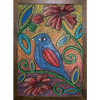 Winston Porter 'Blue Bird' Print; Cafe Mocha Framed Paper