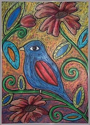 Winston Porter 'Blue Bird' Print; White Metal Framed Paper