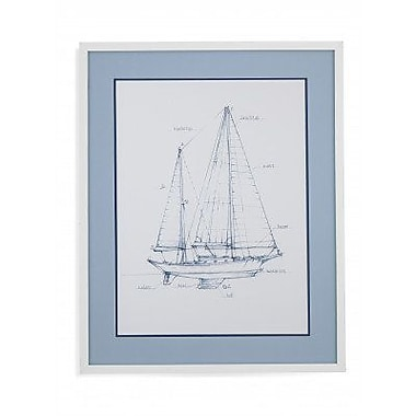 Breakwater Bay 'Sailboat Blueprint VI' Framed Print