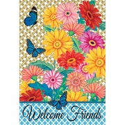 DicksonsInc Welcome Friends Gerber Daisies and Butterflies 2-Sided Garden Flag; Large