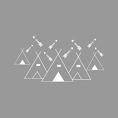 Decal House Mountains Arrows Nursery Wall Decal; White