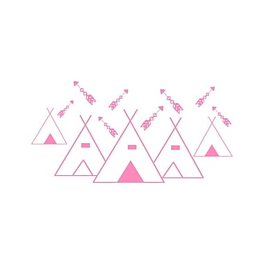 Decal House Mountains Arrows Nursery Wall Decal; Pink