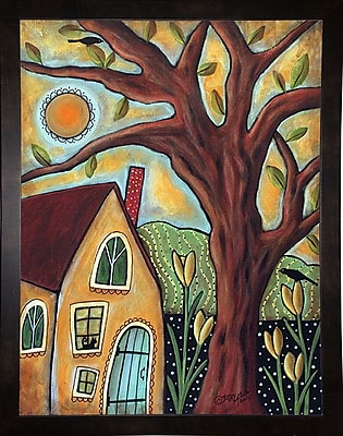 Winston Porter 'Cottage 1' Print; Black Wood Medium Framed Paper