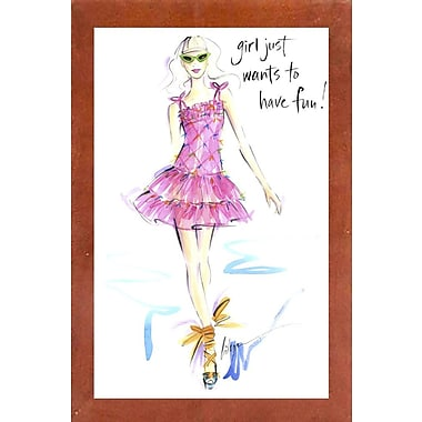 East Urban Home 'Girl Just Wants to Have Fun' Print; Canadian Walnut Wood Medium Framed Paper
