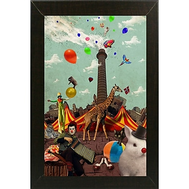 East Urban Home 'Circus' Framed Graphic Art Print; Brazilian Walnut Wood Medium Framed Paper