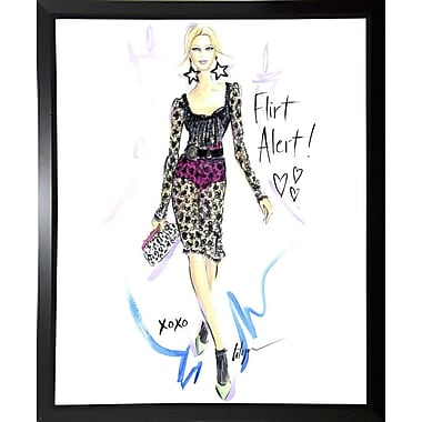 East Urban Home 'Flirt Alert' Print; Black Plastic Framed Paper