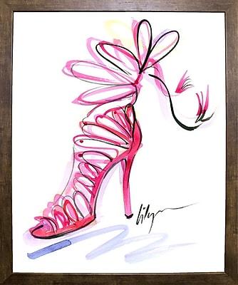 East Urban Home 'Pink Up Your Heels' Print; Cafe Mocha Framed Paper