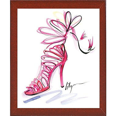 East Urban Home 'Pink Up Your Heels' Print; Red Mahogany Wood Medium Framed Paper