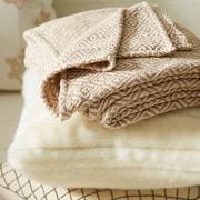 George Oliver Velarde Handcrafted Cotton Throw Blanket; Beige / White