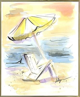 Highland Dunes 'Beach View' Print; Gold Metal Framed Paper