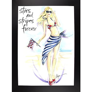 East Urban Home 'Stars and Stripes Forever' Print; Black Wood Large Framed Paper