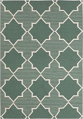 Harriet Bee Bayonne Green/White Geometric Rug; 3' x 5'