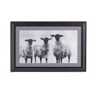 Gracie Oaks 'Rustic Sheep' Framed Graphic Art Print