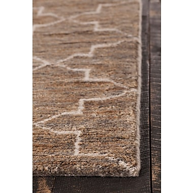 Gracie Oaks Levine Hand-Knotted Dark Brown Area Rug; 5' x 7'6''