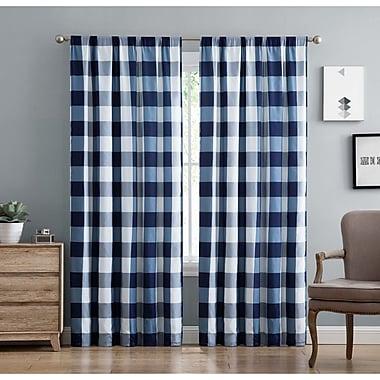 Gracie Oaks Mcclure Semi-Sheer Rod Pocket Curtain Panels; Navy