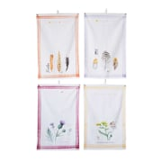 Bungalow Rose Feathers and Plants 4 Piece Cotton Printed Tea Towel Set