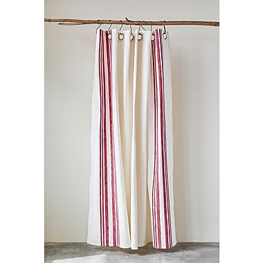 Latitude Run Sav Stripe Square 100pct Cotton Shower Curtain w/ Metal Grommets