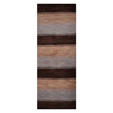 Winston Porter Blackledge Loom Hand Knotted Wool Brown/Light Blue Area Rug; Runner 2' 8'' x 8'