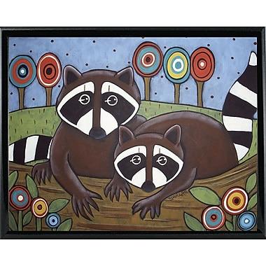 Winston Porter '2 Raccoons' Print; Black Metal Framed Paper