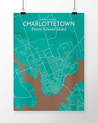OurPoster.com 'Charlottetown City Map' Graphic Art Print Poster in Teal; 24'' H x 18'' W