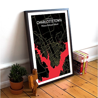 OurPoster.com 'Charlottetown City Map' Graphic Art Print Poster in Black and Red; 36'' H x 24'' W