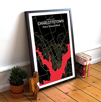 OurPoster.com 'Charlottetown City Map' Graphic Art Print Poster in Black and Red; 24'' H x 18'' W