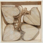 One Allium Way Wooden Hearts Shaped Ornament (Set of 12); Natural