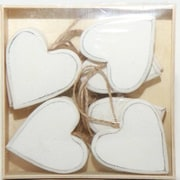 One Allium Way Wooden Hearts Shaped Ornament (Set of 12); White