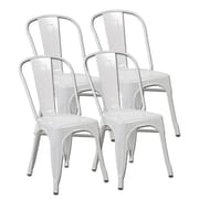 United Chair Industries LLC Metal Stackable Side Chair (Set of 4); Matte White