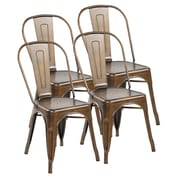 United Chair Industries LLC Metal Stackable Side Chair (Set of 4); Antique Copper