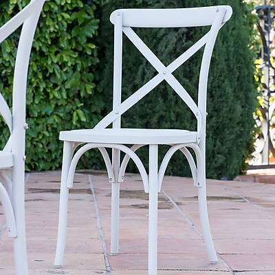 Winston Porter Blakemore Vintage Style Patio Dining Chair (Set of 2); White