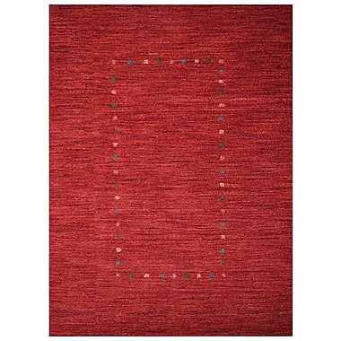 Bloomsbury Market Richards Loom Hand Knotted Wool Solid Red Area Rug; 6' x 9'
