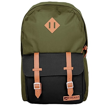WillLand Outdoors College Romantica Backpack, Green/Black (B60822)