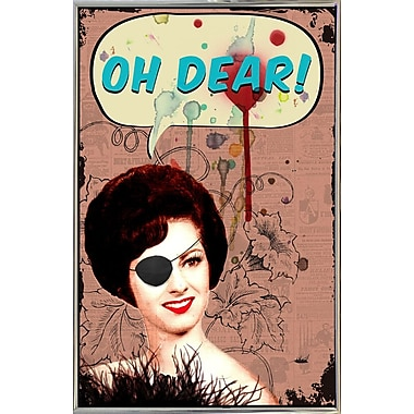 East Urban Home 'Oh Dear' Framed Graphic Art Print; Silver Metal Framed Paper