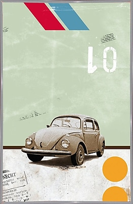 East Urban Home 'The Beetle' Framed Graphic Art Print; White Metal Framed Paper