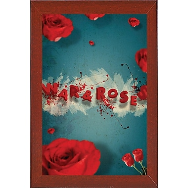East Urban Home 'War and Roses' Framed Graphic Art Print; Red Mahogany Wood Medium Framed Paper