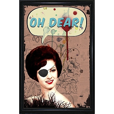 East Urban Home 'Oh Dear' Framed Graphic Art Print; Black Metal Flat Framed Paper